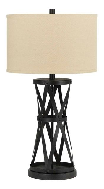 150W 3 Way Passo Iron Table Lamp, Dark Bronze Finish, Light Tan - Industrial - Table Lamps - by Cal Lighting 141055511735