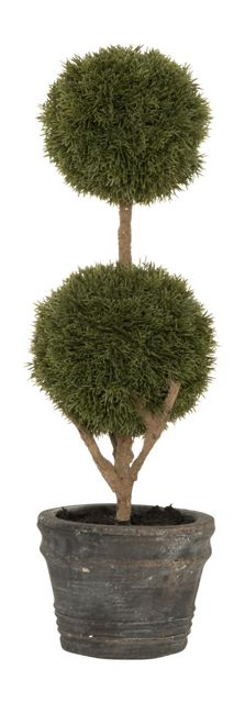 Artificial 2-Ball Green Topiary Trees, Grey Rustic Vase - Contemporary - Artificial Plants And Trees - by Aufora 523204229415
